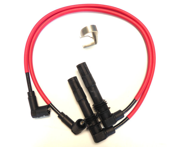 Ignition Cable Set incl. Spark Plug Connector Removal Tool - Red - Fits all Single Spark 4-V BMW