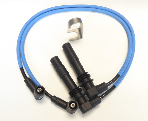 Ignition Cable Set incl. Spark Plug Connector Removal Tool - Blue - Fits all Single Spark 4-V BMW